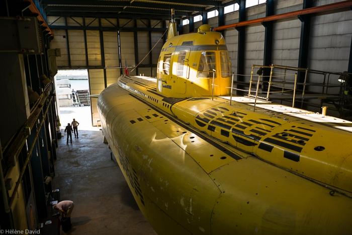 """La visite du sous-marin Saga par l'association les Compagnons du Saga"""". Avec une exposition de photographies de Philippe Mura."""